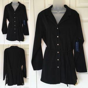 New Karen Scott bold stitch tunic top shirt coat C